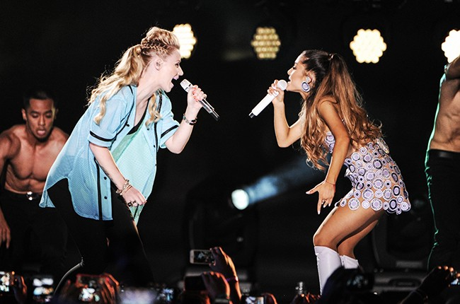 Iggy Azalea and Ariana Grande perform onstage at iHeartRadio Ultimate Pool Party