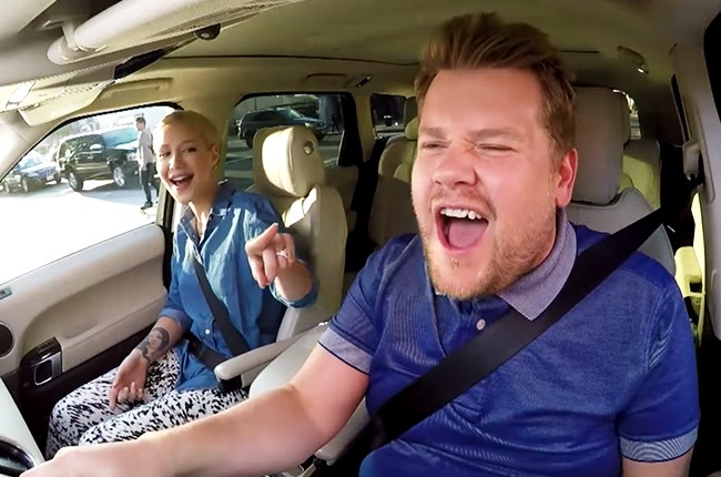 "Iggy Azalea does ""Carpool Karaoke"" with James Corden on The Late Late Show with James Corden on June 18, 2015."