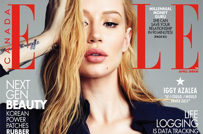 Iggy Azalea on the cover of Elle Canada' in 2016.