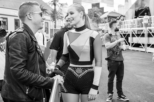 Macklemore and Iggy Azalea backstage at iHeartRadio 2014