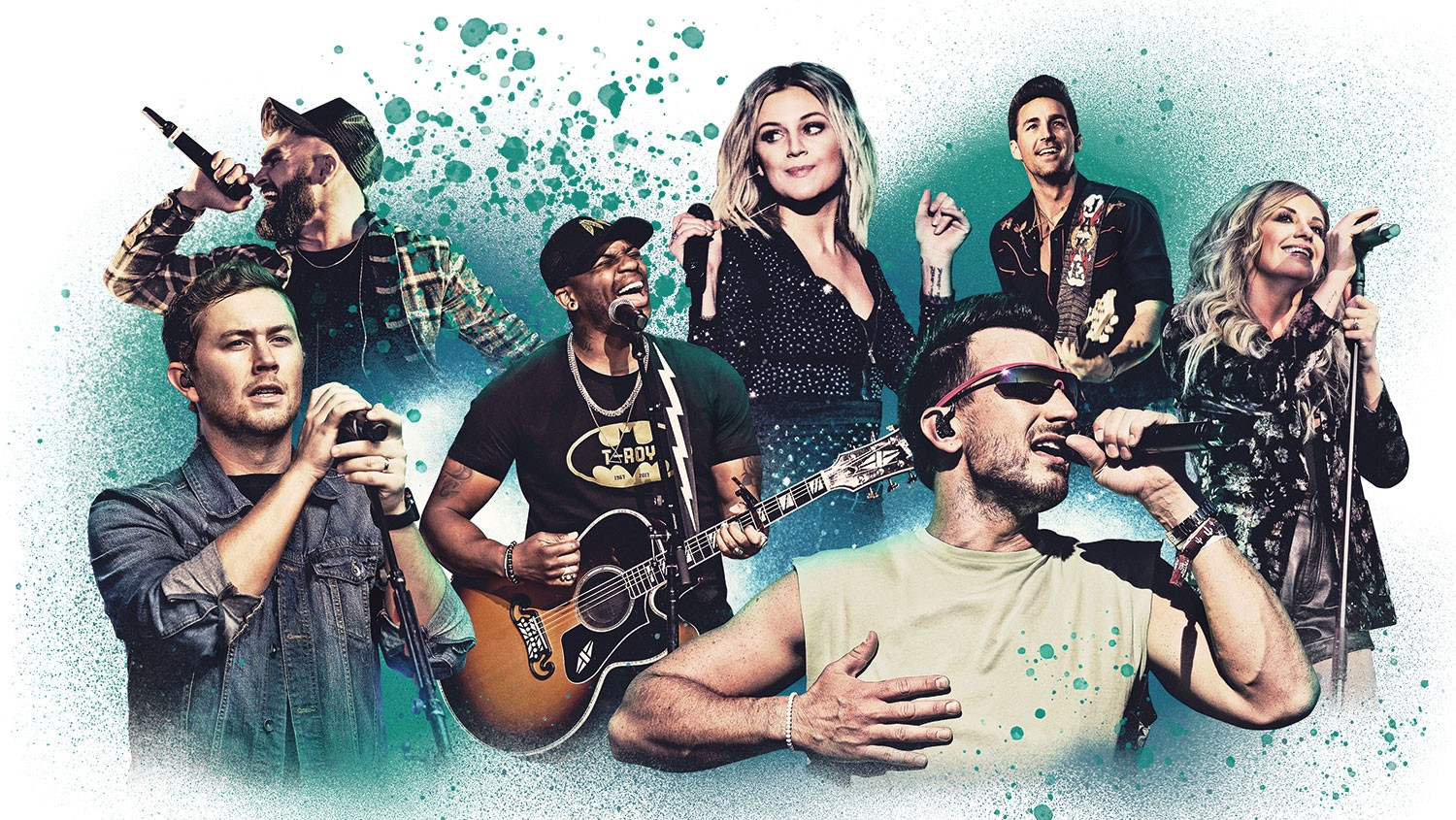 Clockwise from top left: Dylan Scott, Kelsea Ballerini, Jake Owen, Carly Pearce, Russell Dickerson, Jimmie Allen and Scotty McCreery.