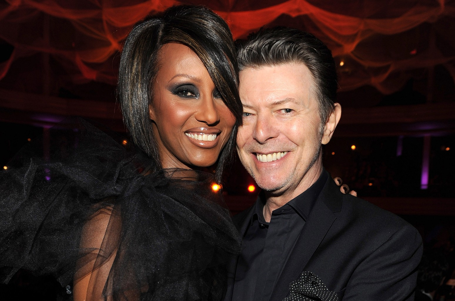 Iman and David Bowie at Hammerstein Ballroom on Oct. 15, 2009 in New York City.