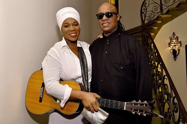 India Arie and Stevie Wonder attend the Dinner For Equality