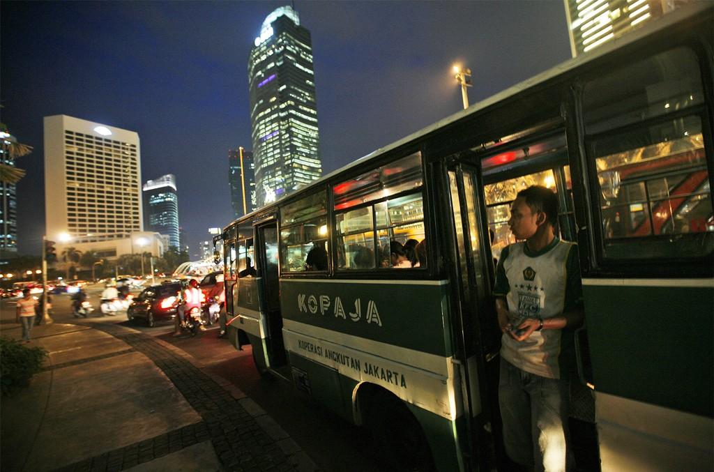 A public bus in Jakarta, Indonesia