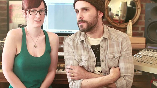 Ingrid Michaelson with ex-husband Greg Laswell in a YouTube video.