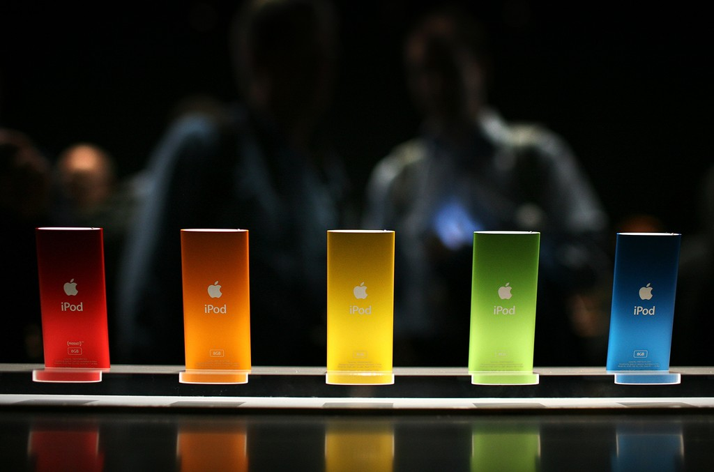 The new iPod Nano is displayed during an Apple special event Sept. 9, 2008 in San Francisco.