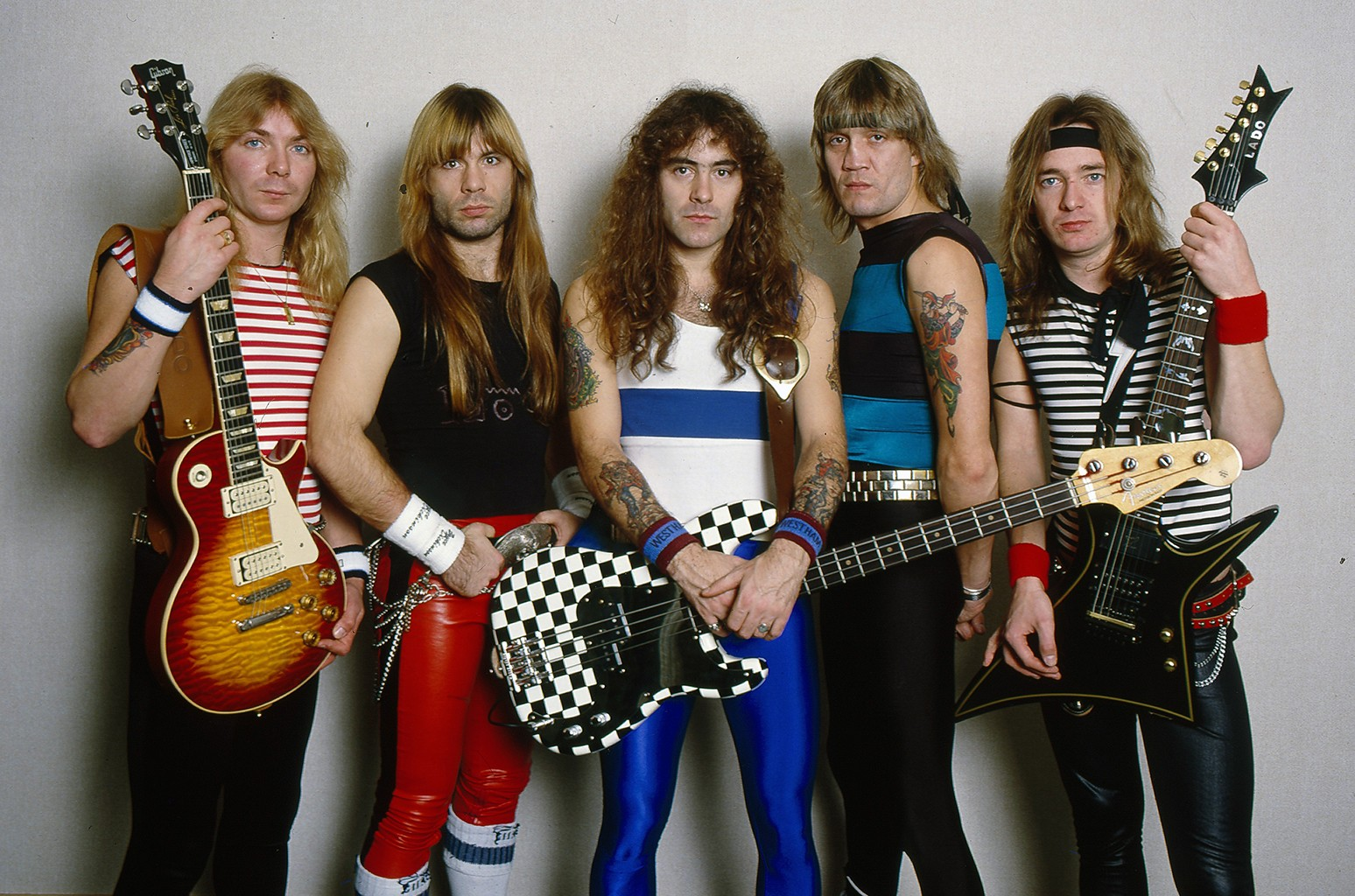 Mandatory Credit: Photo by Ilpo Musto/REX/Shutterstock (1270764n) Iron Maiden - Dave Murray, Steve Harris, Nicko McBrain, Bruce Dickinson and Adrian Smith Iron Maiden - 1988