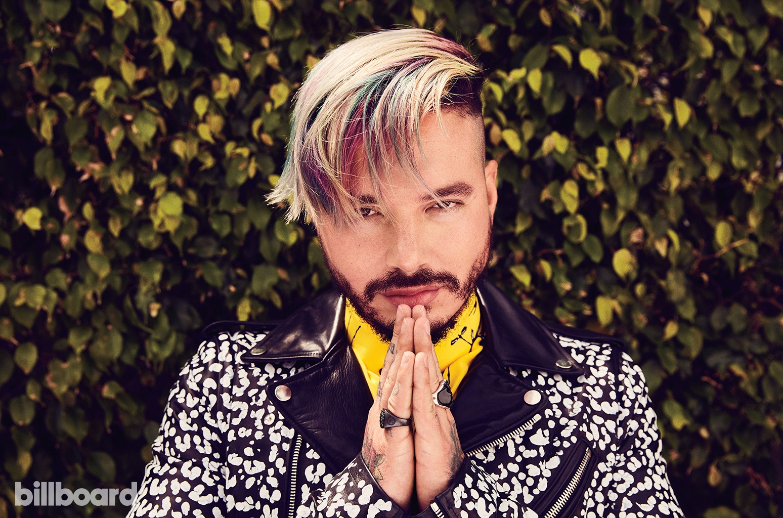 J Balvin photographed on April 17, 2017 in Miami. Styling by Shannon Adducci. Balvin wears a Haider Ackermann shirt, AMIRI jacket and David Yurman rings.