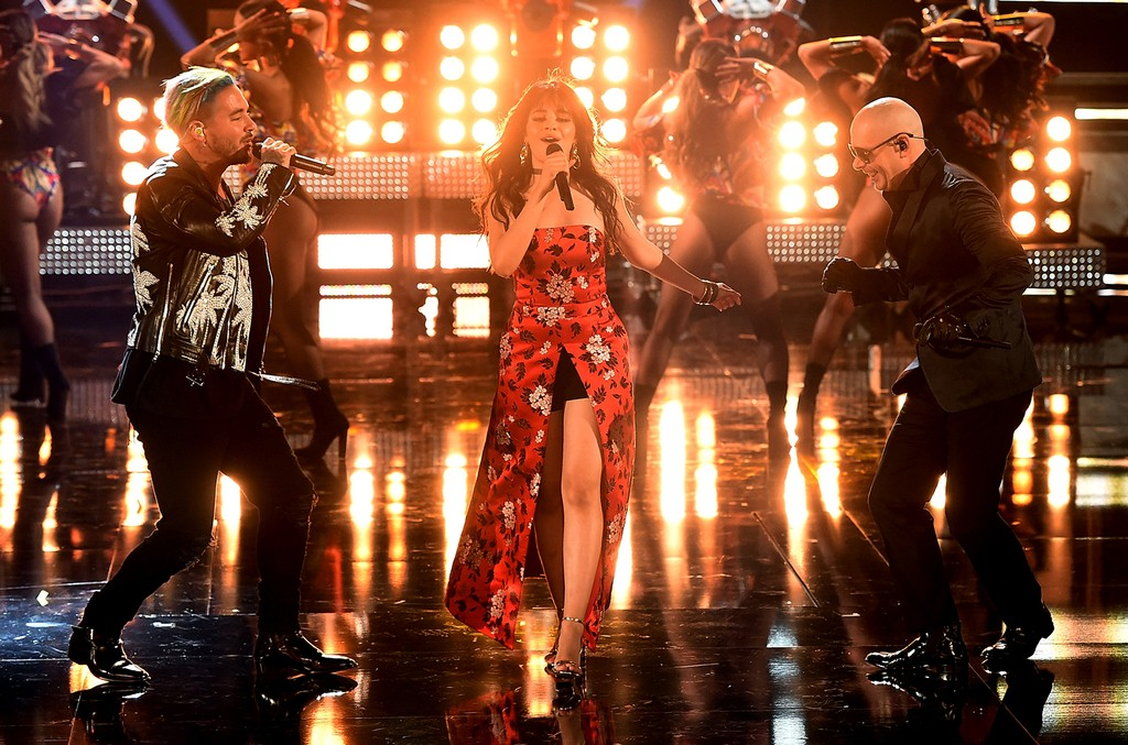 J Balvin, Camila Cabello and Pitbull perform onstage during the 2017 MTV Movie and TV Awards at The Shrine Auditorium on May 7, 2017 in Los Angeles.