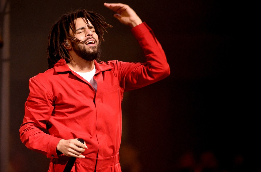 J. Cole performs at the Forum on July 11, 2017 in Inglewood