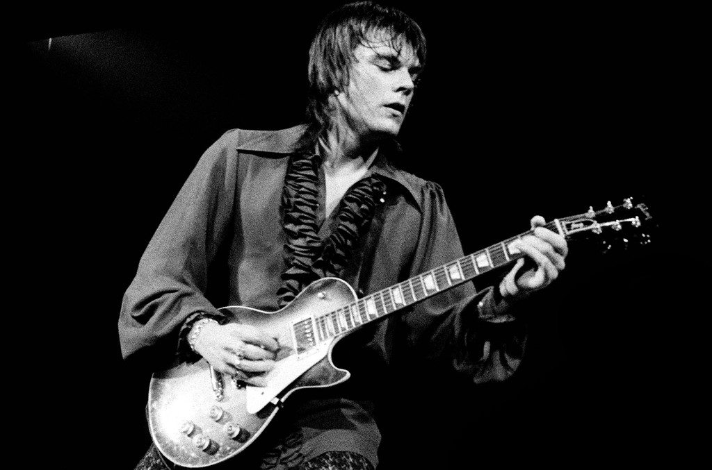 John Geils of the J. Geils Band perform on stage in June 1972 in Copenhagen, Denmark.