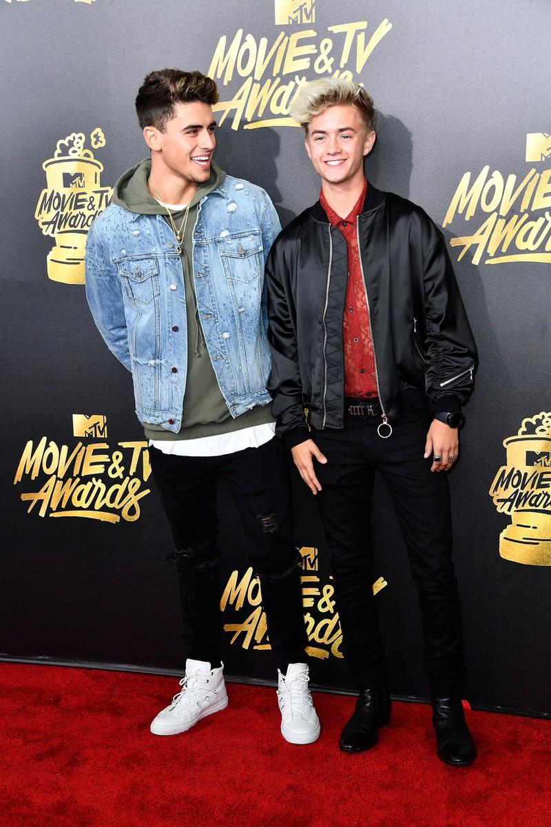 Jack Gilinsky (L) and Jack Johnson attend the 2017 MTV Movie and TV Awards at The Shrine Auditorium on May 7, 2017 in Los Angeles.