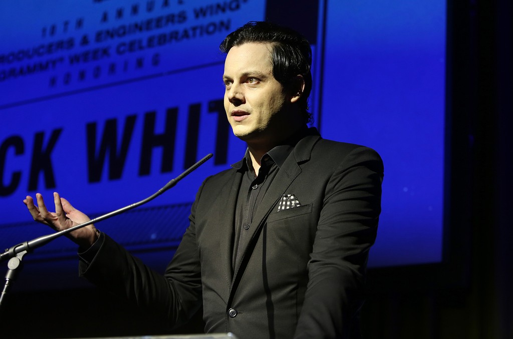 Jack White speaks at the P&E Wing Event honoring Jack White at The Village Studios on Feb. 8, 2017 in Los Angeles.