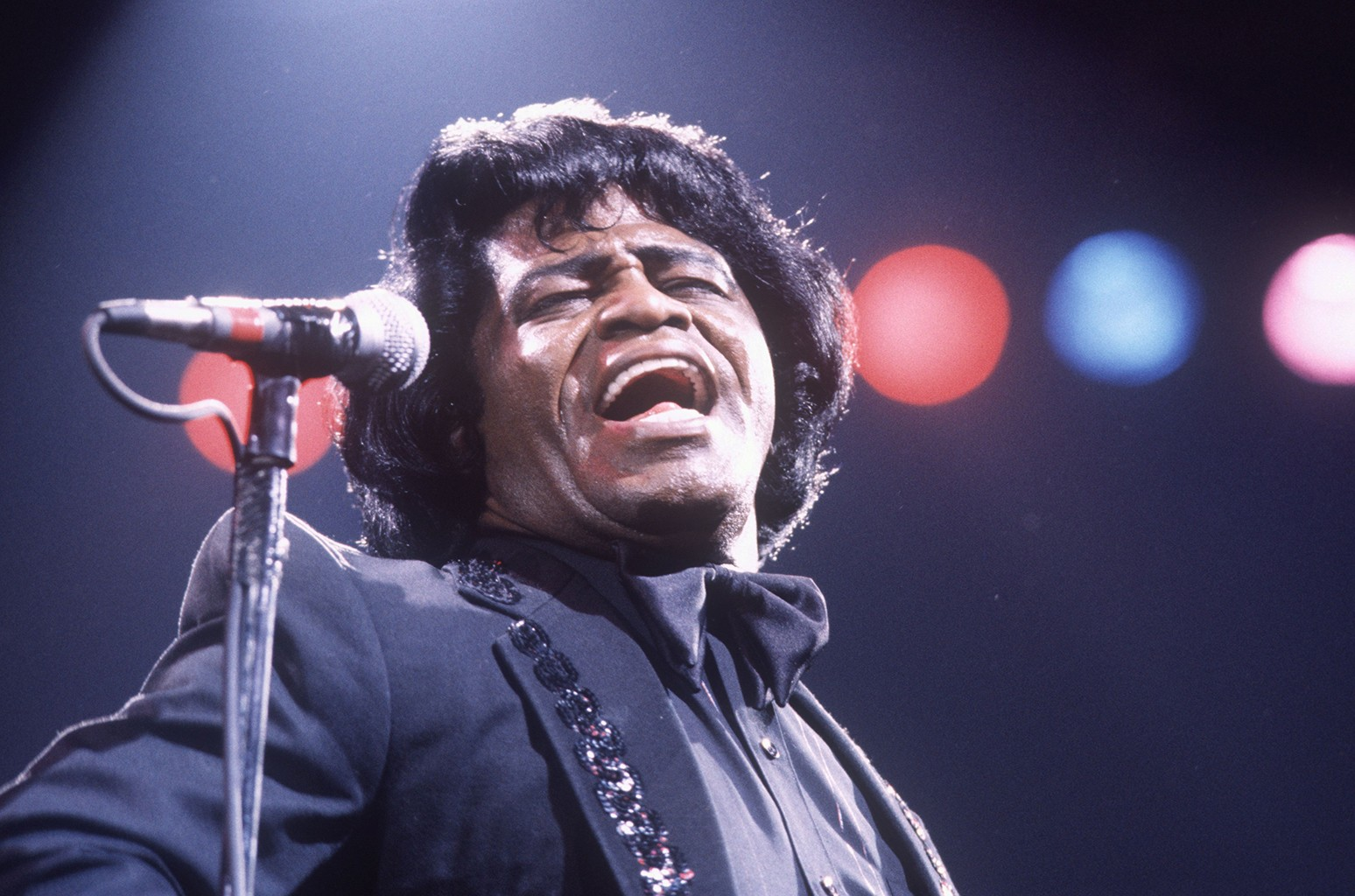James Brown performs at Wembley Arena in London in 1986.