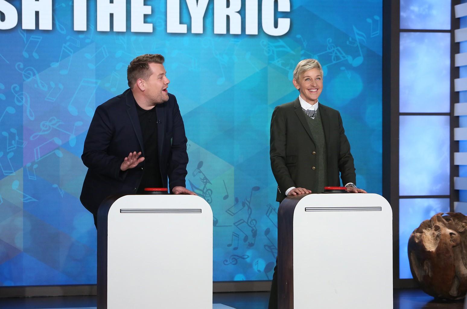 """James Corden and Ellen DeGeneres play """"Finish the Lyric"""" on The Ellen DeGeneres Show."""
