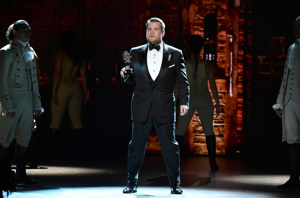 James Corden onstage during the 70th Annual Tony Awards