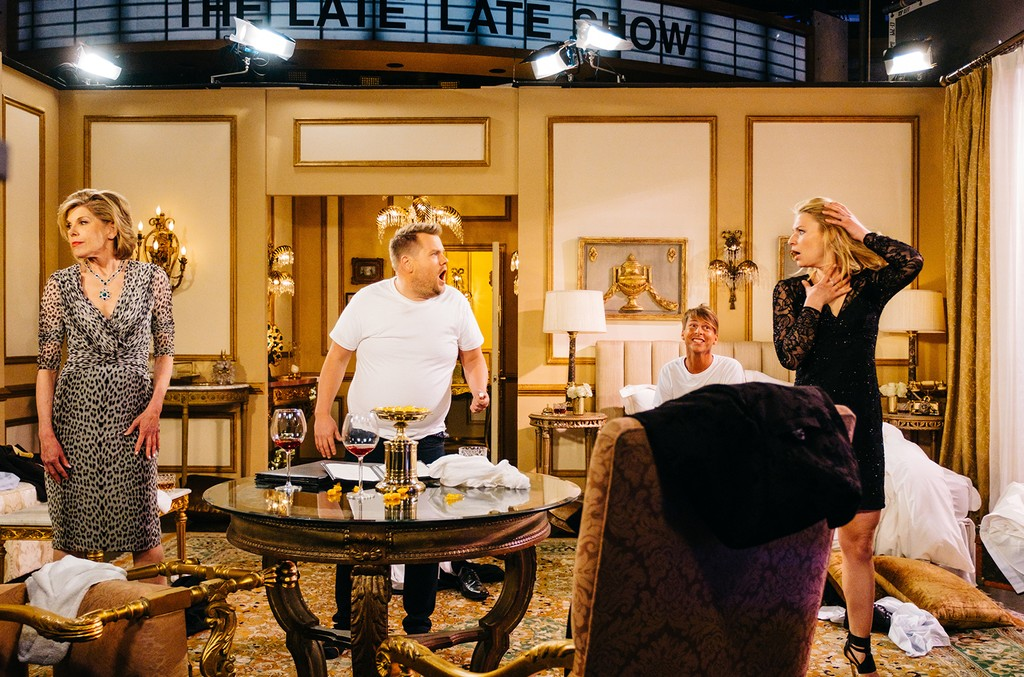 """Claire Danes, Christine Baranski, and Jack McBrayer perform """"The Bold and The Lyrical"""" with James Corden during The Late Late Show with James Corden on April 4, 2017 on The CBS Television Network."""