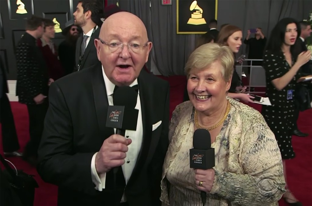 James Corden's parents, Malcolm and Margaret Corden at the Grammys red carpet on Feb. 12, 2017 in Los Angeles.