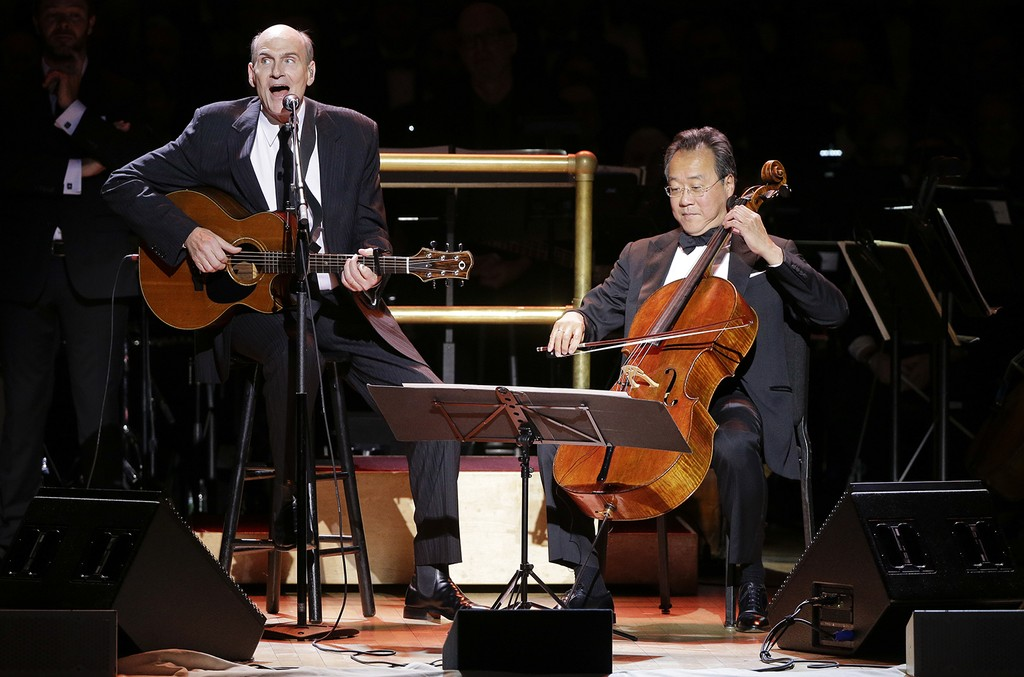 James Taylor and Yo-Yo Ma perform during Carnegie Hall's 125th Anniversary Concert