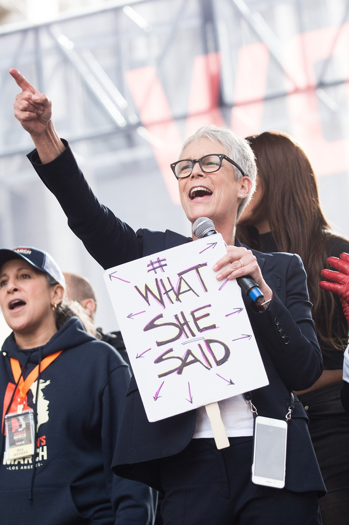 Jamie Lee Curtis speaks onstage at the women's march in Los Angeles on January 21, 2017 in Los Angeles, California.  (Photo by Emma McIntyre/Getty Images)