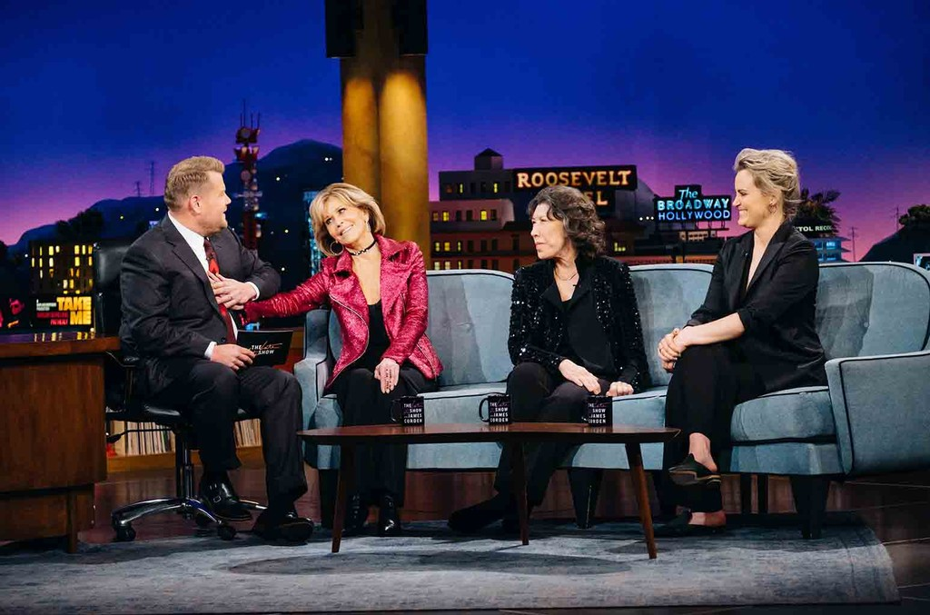 """Jane Fonda, Lily Tomlin, and Taylor Schilling chat with James Corden during """"The Late Late Show with James Corden"""" on May 3, 2017."""