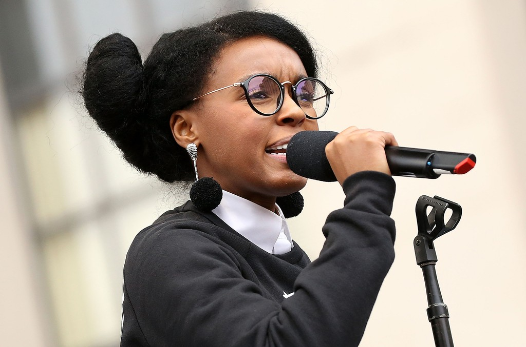 Janelle Monae peforms at the rally at the Women's March on Washington on Jan. 21, 2017 in Washington, DC.