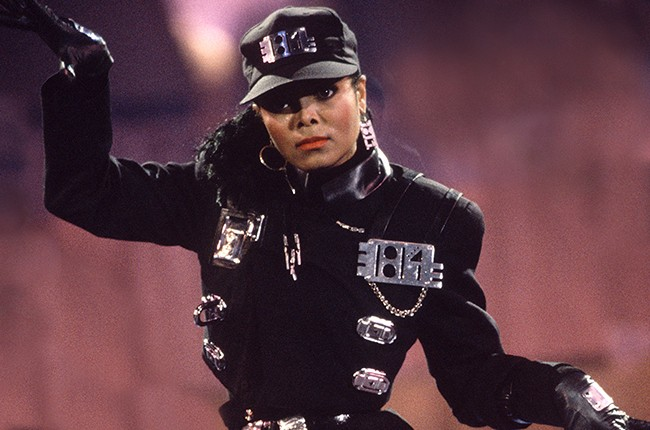 "Janet Jackson performing ""Rhythm Nation"" in 1989."