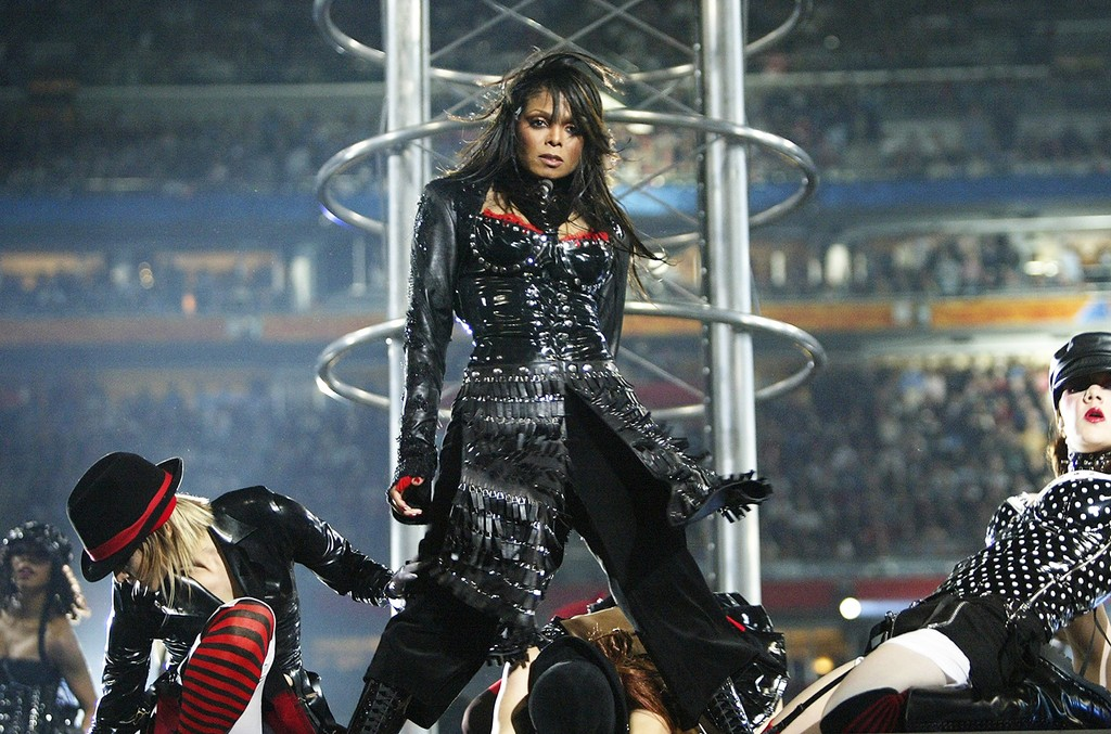 Janet Jackson performs during the halftime show at Super Bowl XXXVIII at Reliant Stadium on Feb. 1, 2004 in Houston.