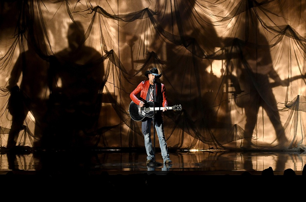 Jason Aldean performs onstage during the 52nd Academy Of Country Music Awards at T-Mobile Arena on April 2, 2017 in Las Vegas.