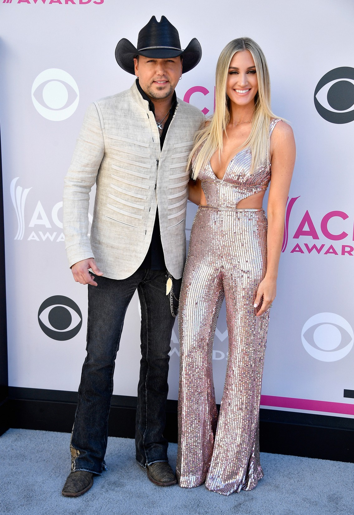 Jason Aldean and Brittany Kerr attend the 52nd Academy Of Country Music Awards at Toshiba Plaza on April 2, 2017 in Las Vegas.