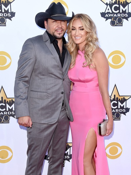 Jason Aldean and Brittany Kerr attend the 50th Academy Of Country Music Awards