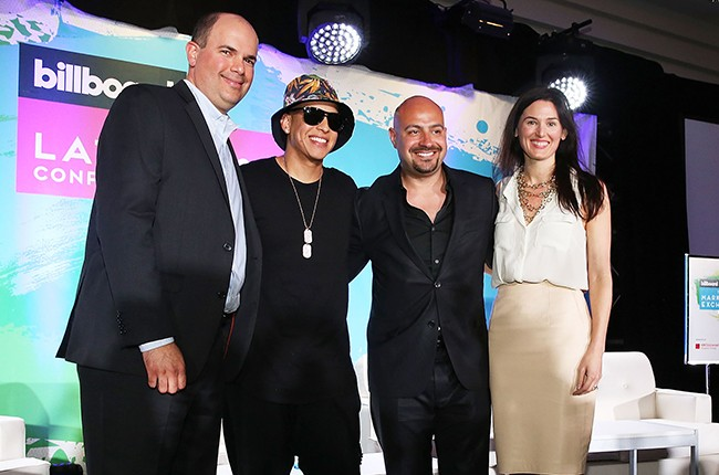 Javier Figueroa, Daddy Yankee, Victor Cornejo and Erica Moreira Billboard Latin Music Conference 2015