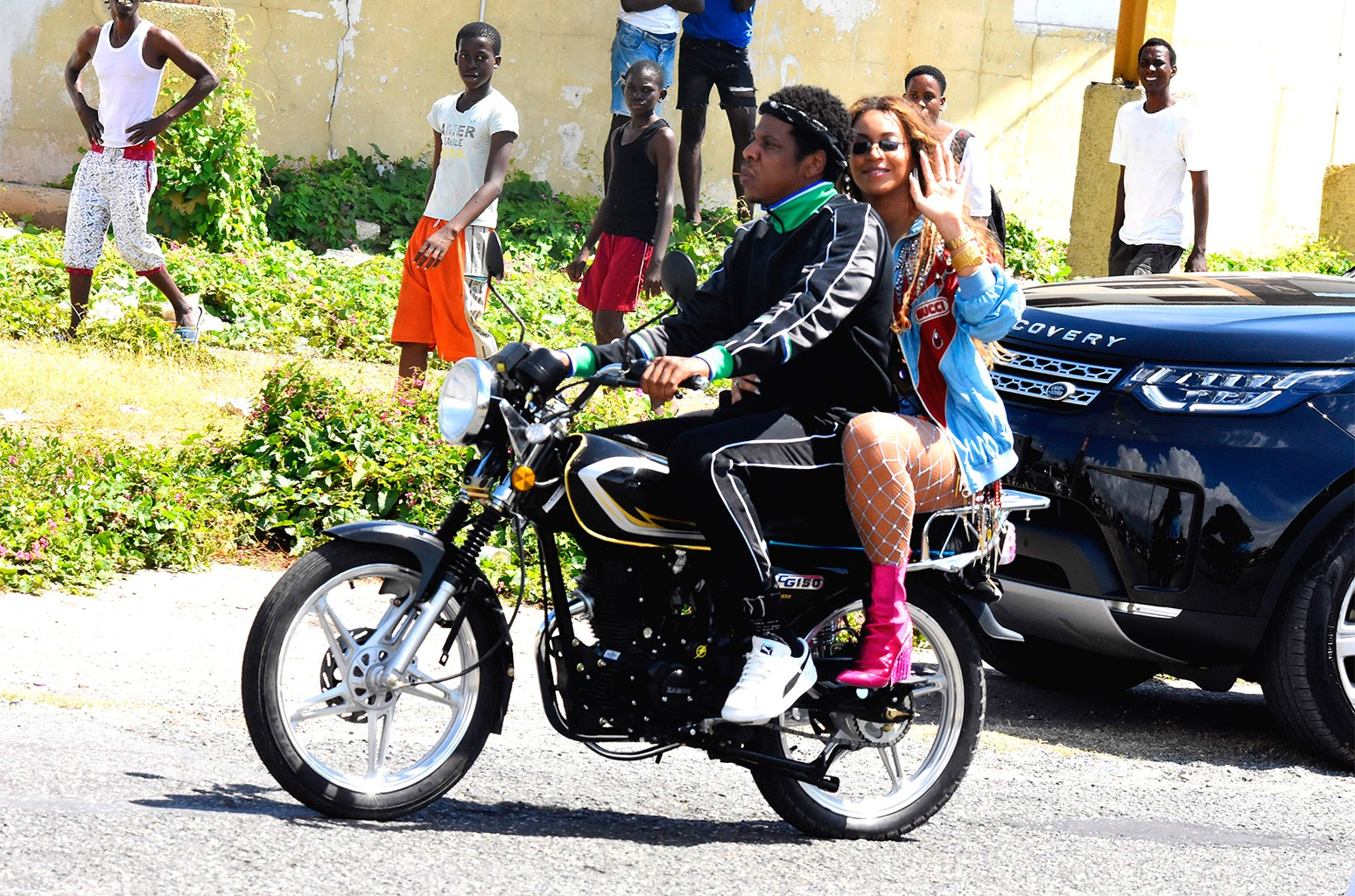 Jay-Z and Beyonce photographed in Kingston, Jamaica on March 20, 2018.