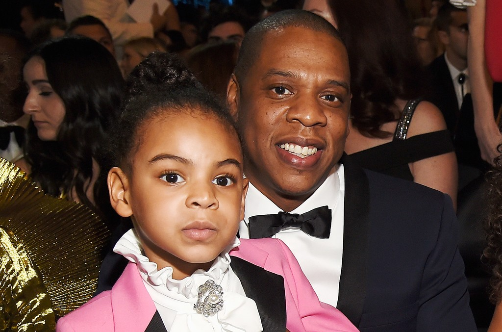 Blue Ivy Carter and Jay Z during The 59th Grammy Awards at Staples Center on Feb. 12, 2017 in Los Angeles.
