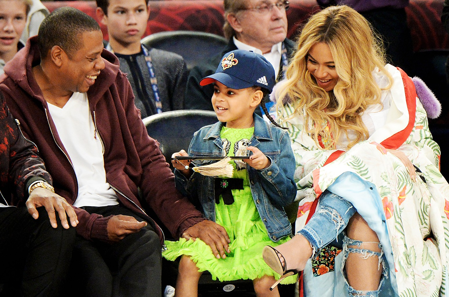 Jay Z, Blue Ivy Carter and Beyonce Knowles attend the 66th NBA All-Star Game at Smoothie King Center on Feb. 19, 2017 in New Orleans.