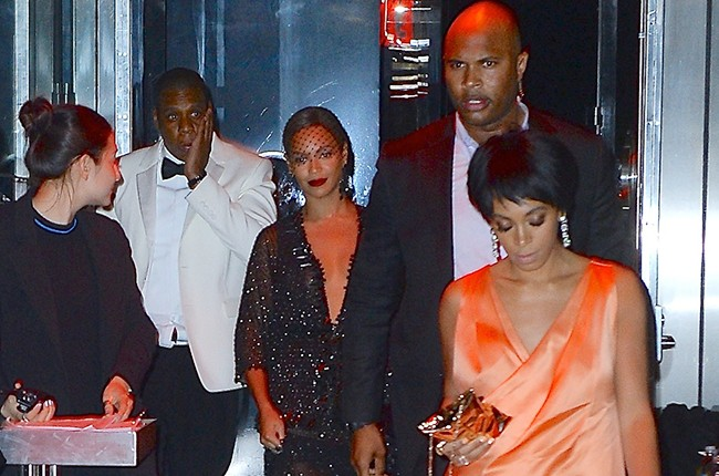 Jay-Z , Beyonce, Solange Knowles leaving The Standard Met Gala After Party