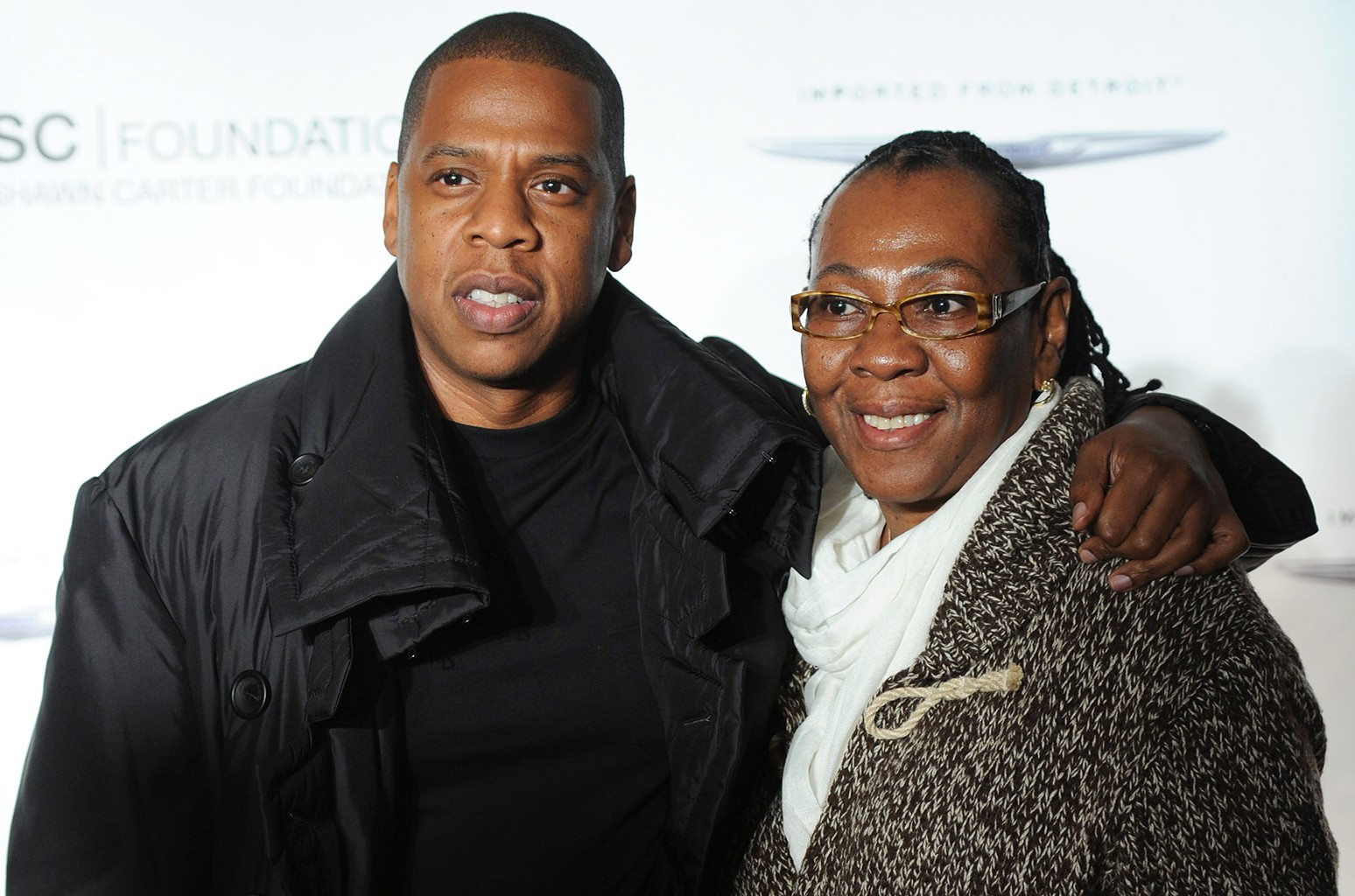 """Jay Z poses with his mother, Gloria Carter during an evening of """"Making The Ordinary Extraordinary"""" hosted by The Shawn Carter Foundation at Pier 54 on Sept. 29, 2011 in New York City."""