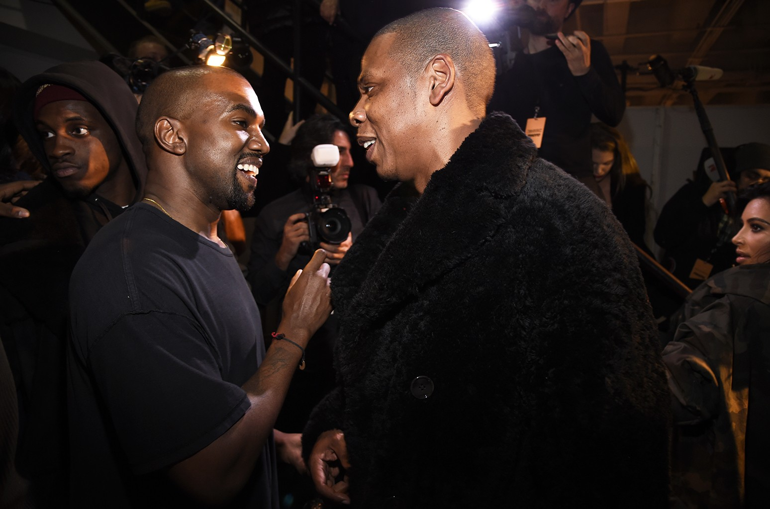 Kanye West and Jay Z at Skylight Clarkson Sq on Feb. 12, 2015 in New York City.