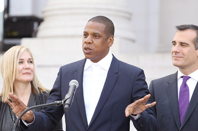 United Way President & CEO Elise Buik, Jay Z aka Shawn Carter and Los Angeles Mayor Eric Garcetti speak at the announcement of The Budweiser Made in America