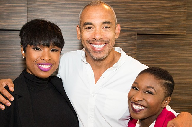 "Jennifer Hudson and Cynthia Erivo of Broadway's ""The Color Purple"" with Harvey Mason, Jr."
