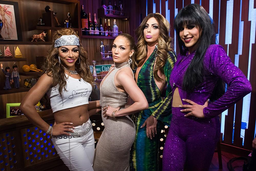 Jennifer Lopez with Jennifer Lopez drag queens