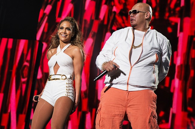 Jennifer Lopez and Fat Joe performing at Orchard Beach in the Bronx