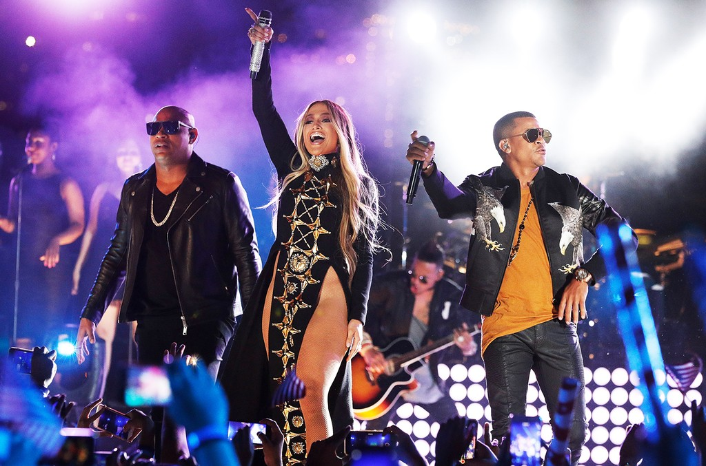 Jennifer Lopez performs with Gente De Zona during the pre tape of the Macy's 4th of July Firework Show at Hunter's Point South Park on June 30, 2017 in New York City.