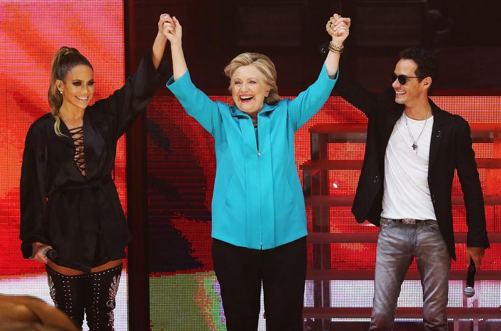 Jennifer Lopez, Hillary Clinton & Marc Anthony