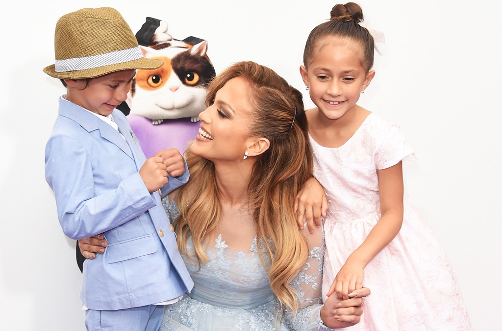 Jennifer Lopez with children Max and Emme at Regency Village Theatre on March 22, 2015 in Westwood, Calif.