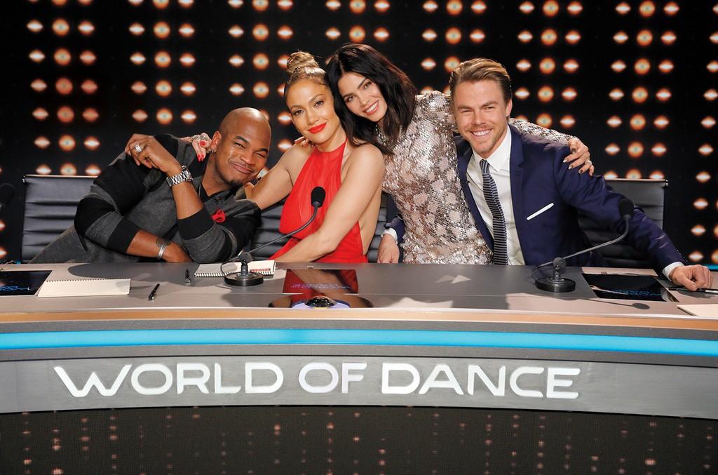 "(l-r) Ne-Yo, Jennifer Lopez, Jenna Dewan Tatum & Derek Hough of NBC's ""World of Dance."""