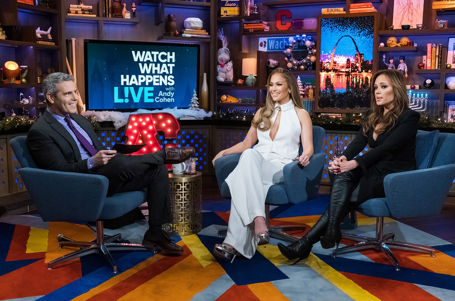 Andy Cohen, Jennifer Lopez and Leah Remini on Watch What Happens Live with Andy Cohen.