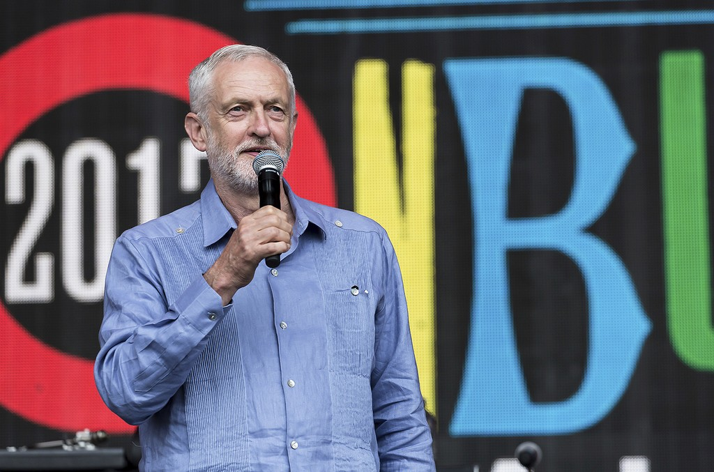 Jeremy Corbyn speaks to the crowd at the Glastonbury Festival at Worthy Farm in Somerset, England on June 24, 2017.