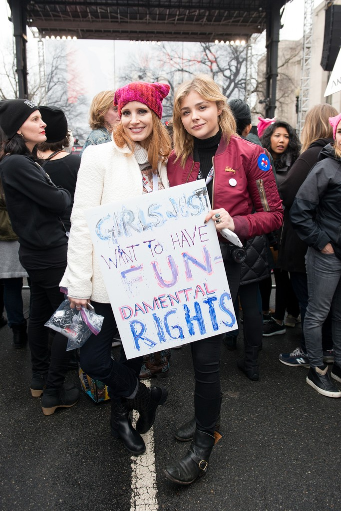 Jessica Chastain and Chloe Grace Moretz attend the Women's March on Washington on January 21, 2017 in Washington, DC.  (Photo by Noam Galai/WireImage)