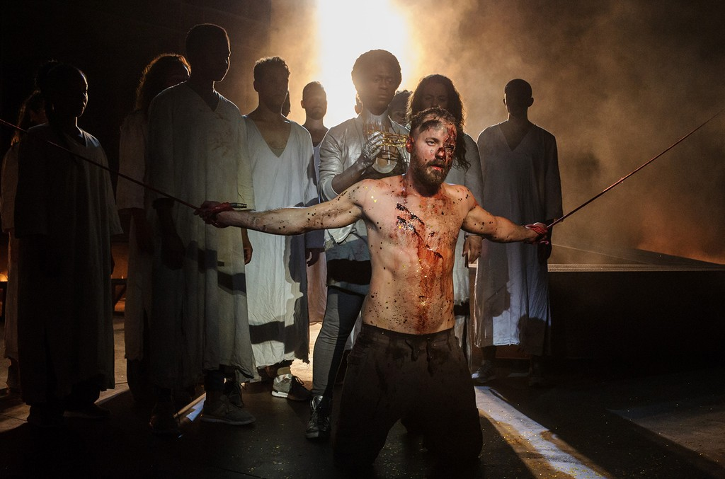 Declan Bennett as Jesus and Tyrone Huntley as Judas in the Jesus Christ Superstar Musical at the Regent's Park Open Air Theatre in London on July 19, 2016.
